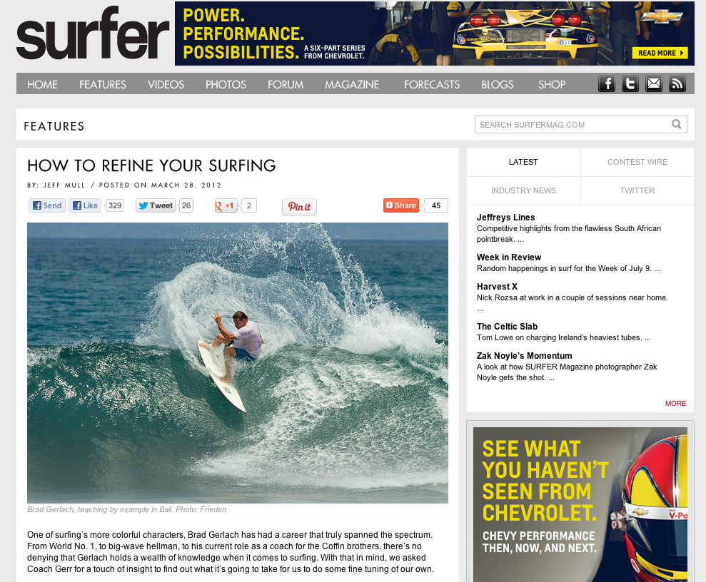 Surfer Mag Article on Coaching